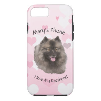 Keeshond on Pink with White Hearts iPhone 8/7 Case