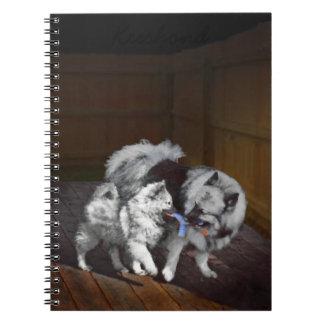 Keeshond Playtime Painting - Cute Original Dog Art Notebook