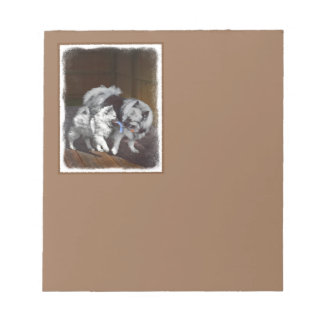 Keeshond Playtime Painting - Cute Original Dog Art Notepad