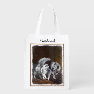 Keeshond Playtime Painting - Cute Original Dog Art Reusable Grocery Bag