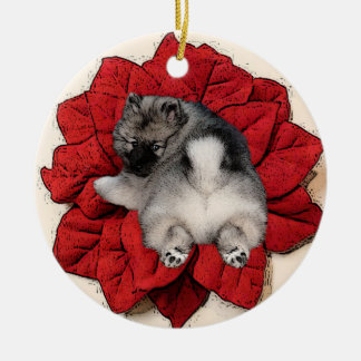 Keeshond Poinsettia Puppy Ornament