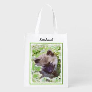 Keeshond Puppy (Brutus) Painting Original Dog Art Reusable Grocery Bag