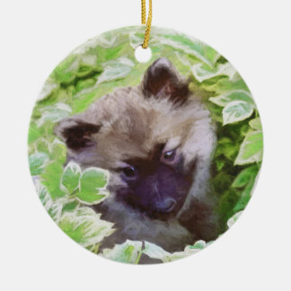 Keeshond Puppy Ceramic Ornament
