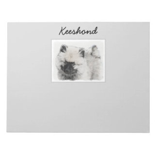 Keeshond Puppy Drawing - Cute Original Dog Art Notepad