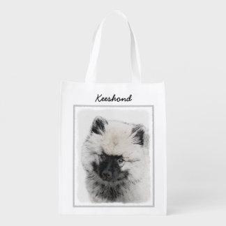 Keeshond Puppy Drawing - Cute Original Dog Art Reusable Grocery Bag