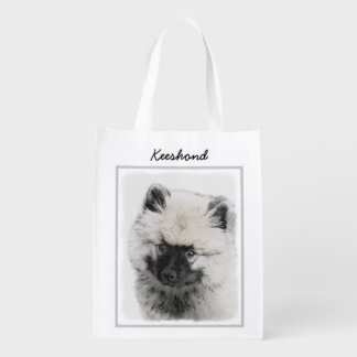 Keeshond Puppy (Drawing) Reusable Grocery Bag