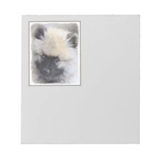 Keeshond Puppy Painting - Cute Original Dog Art Notepad
