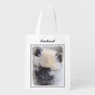 Keeshond Puppy Painting - Cute Original Dog Art Reusable Grocery Bag