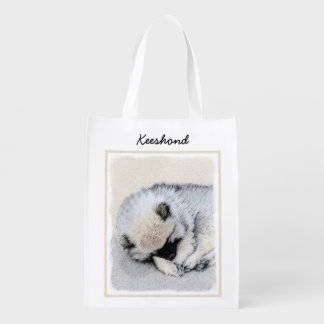Keeshond Puppy (Sleeping) Reusable Grocery Bag