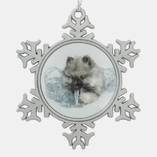 Keeshond Puppy Snowflake Ornament