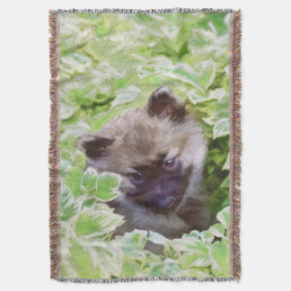 Keeshond Puppy Throw Blanket