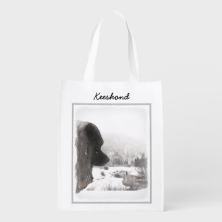 Keeshond Shadow's Creek Painting Original Dog Art Reusable Grocery Bag