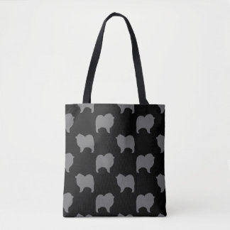 Keeshond Silhouettes Pattern Grey and Black Tote Bag
