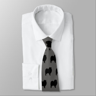 Keeshond Silhouettes Pattern Tie