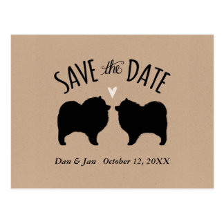 Keeshond Silhouettes Wedding Save the Date Postcard