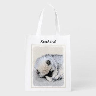 Keeshond Sleeping Puppy Painting - Original Dog Ar Reusable Grocery Bag