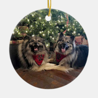 Keeshond with Christmas Tree Ceramic Ornament