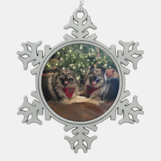 Keeshond with Christmas Tree Snowflake Pewter Christmas Ornament