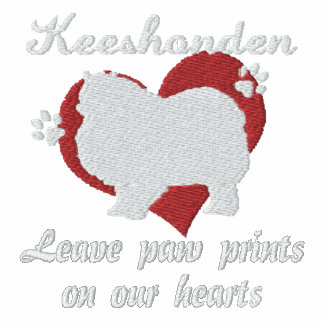 Keeshonden Leave Paw Prints Embroidered TShirt