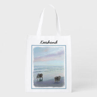 Keeshonds at the Seashore Painting Dog Art Reusable Grocery Bag