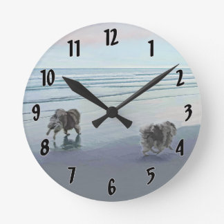 Keeshonds at the Seashore Painting Dog Art Round Clock