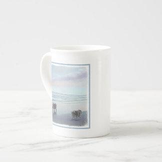 Keeshonds at the Seashore Painting Dog Art Tea Cup