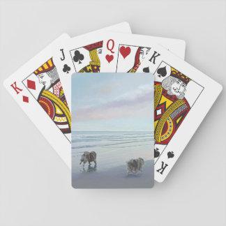 Keeshonds at the Seashore Playing Cards