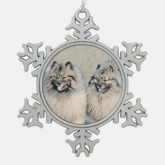 Keeshonds Snowflake Pewter Christmas Ornament