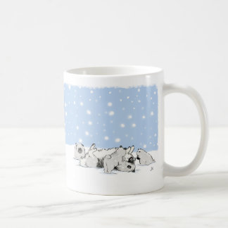 Keesies Playing in the Snow - Keeshond and Puppies Coffee Mug
