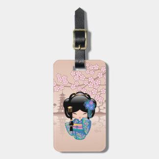 Keiko Kokeshi Doll - Blue Kimono Geisha Girl Luggage Tag