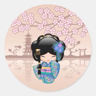 Keiko Kokeshi Doll - Blue Kimono Geisha Girl Round Sticker