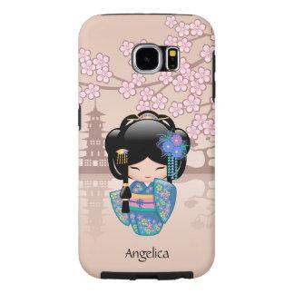 Keiko Kokeshi Doll - Blue Kimono Geisha Girl Samsung Galaxy S6 Cases