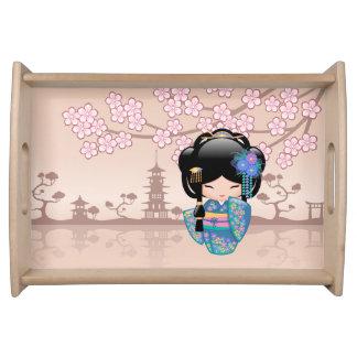 Keiko Kokeshi Doll - Blue Kimono Geisha Girl Serving Tray