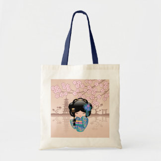 Keiko Kokeshi Doll - Blue Kimono Geisha Girl Tote Bag