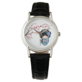 Keiko Kokeshi Doll - Blue Kimono Geisha Girl Wrist Watches