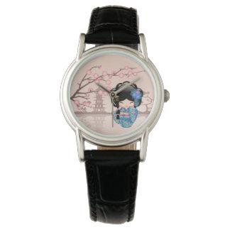 Keiko Kokeshi Doll - Blue Kimono Geisha Girl Wristwatch