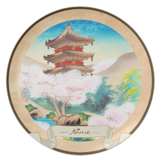 Keisui Pagoda in Spring japanese oriental scenery Party Plates