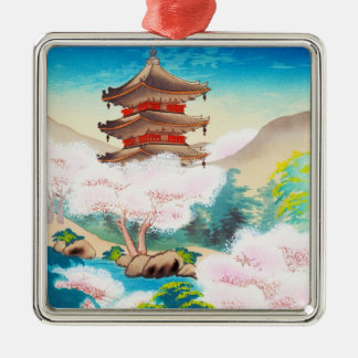 Keisui Pagoda in Spring japanese oriental scenery Silver-Colored Square Ornament