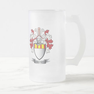 Keith Family Crest Coat of Arms Frosted Glass Beer Mug