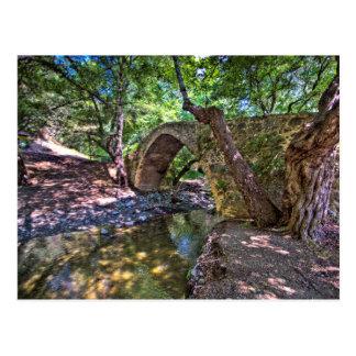 Kelefos medieval-Venetian bridge in Cyprus forest Postcard