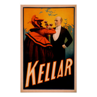 Kellar Magician Drinking Wine with the Devil Poster