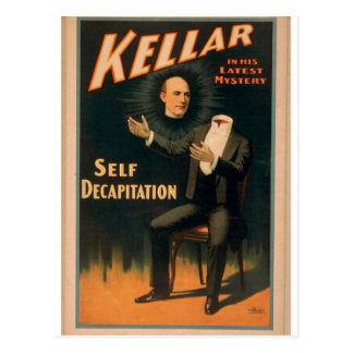 Kellar, 'Self Decapitation' Vintage Theater Postcard