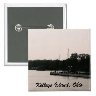 Kelleys Island boat dock black and white photo 2 Inch Square Button