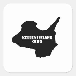 Kelleys Island Ohio Logo Silhouette Square Sticker