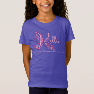 Kellie girls name meaning K monogram hearts T-Shirt
