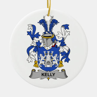 Kelly Family Crest Ceramic Ornament