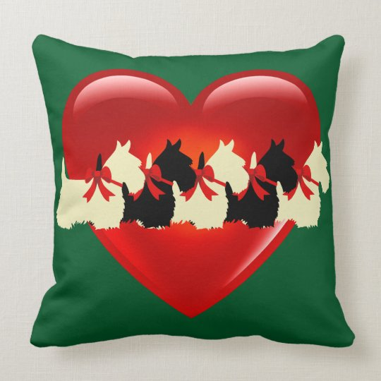 Kelly green, 6 Scottish Terrier black/wheaten dog Throw Pillow