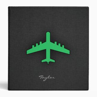 Kelly Green Airplane Vinyl Binder
