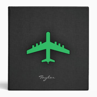 Kelly Green Airplane Vinyl Binder