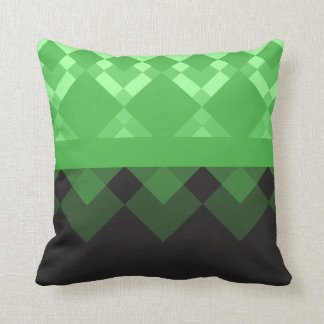 Kelly Green and Black Design Throw Pillow